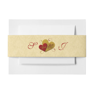 Red & Gold True Love Invitation Belly Band
