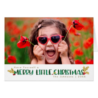 Red & Gold Watercolor Merry Little Christmas Card