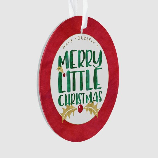 Red & Gold Watercolor PHOTO Merry Little Christmas Ornament