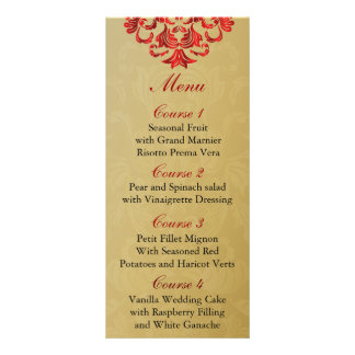 red  gold Wedding menu Full Colour Rack Card