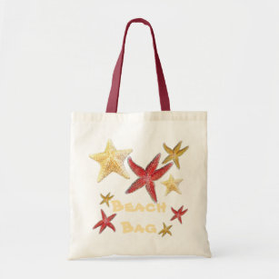 Red Gold Yellow Starfish Beach Bag in Canvas