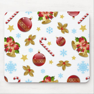 Red & Golden Christmas balls, Christmas holly Mouse Pad