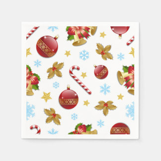 Red & Golden Christmas balls, Christmas holly Paper Napkin