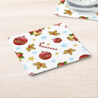 Red & Golden Christmas balls, Christmas holly Square Paper Coaster