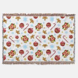 Red & Golden Christmas balls, Christmas holly Throw Blanket