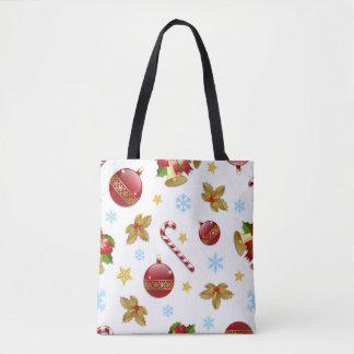 Red & Golden Christmas balls, Christmas holly Tote Bag