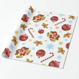 Red & Golden Christmas balls, Christmas holly Wrapping Paper