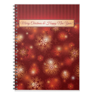 Red & Golden Christmas & Happy New Year Spiral Notebook
