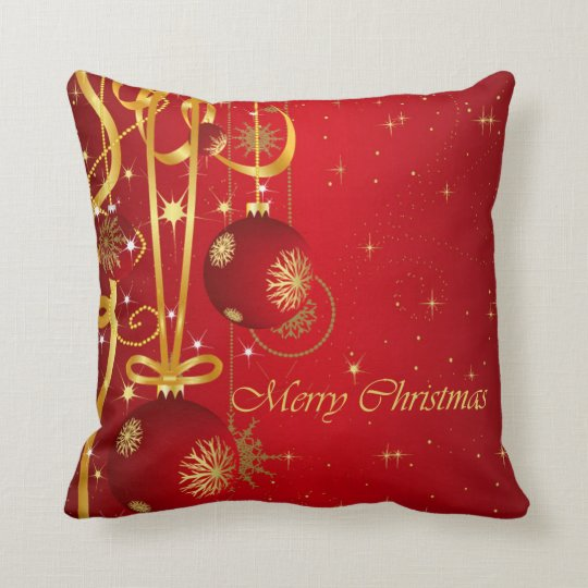Red & Golden Christmas Ornaments Cushion