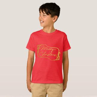 Red Golden Merry Christmas Kids T-Shirt