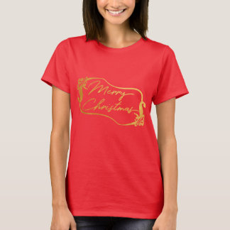 Red Golden Merry Christmas Women T-Shirt