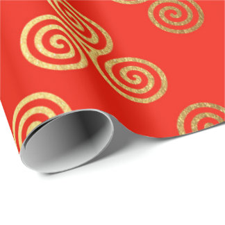 Red Golden Royal Celtic Ornament Heraldic Wrapping Paper