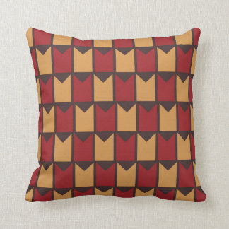 Red Golden Yellow and Brown Checkered Pattern Cushion