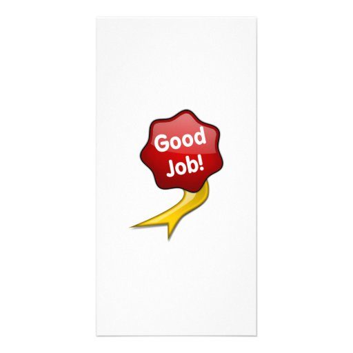 Red Good Job Ribbon Picture Card