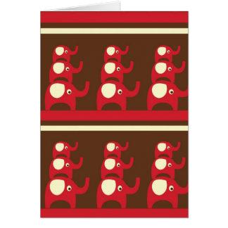 Red good luck elephants pattern print greeting card