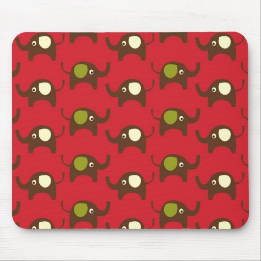 Red good luck elephants pattern print mouse pad