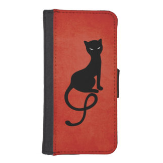 Red Gracious Evil Black Cat iPhone 5 Wallets