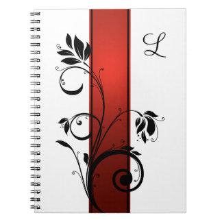 Red Gradient Black Floral Swirls Guest Book