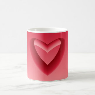 Red Gradient Heart and Background Color Coffee Mug