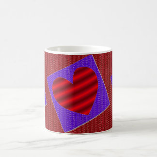 Red Gradient Heart w/Red and Purple Faux Glitter Coffee Mug