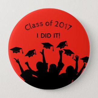 Red Graduation Cap Gown Cap Toss Personalized 10 Cm Round Badge