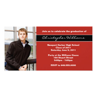Red Graduation Invitation Announcement Cards Photo Cards