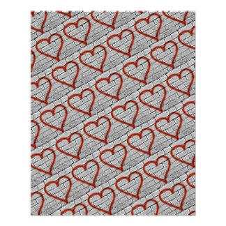 Red Graffiti Hearts Scrapbook Paper