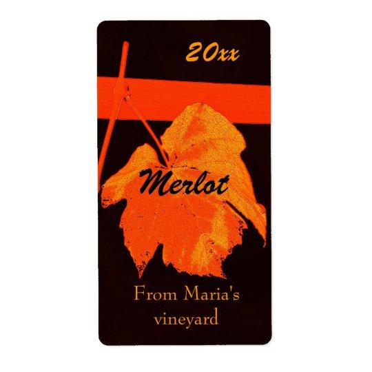 Red grape leaf wine bottle label
