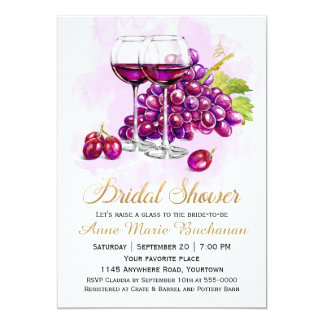 Red Grapes and Wine Glasses Bridal Shower Card