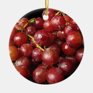 Red Grapes Ceramic Ornament