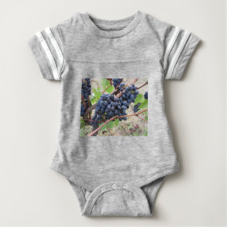 Red grapes on the vine with green leaves baby bodysuit