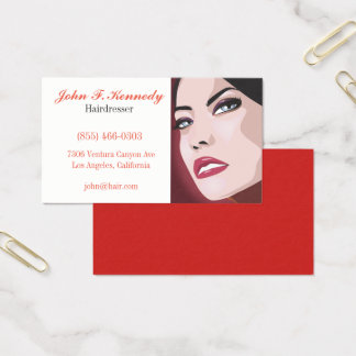 Red Graphic hairdresser business case Business Card
