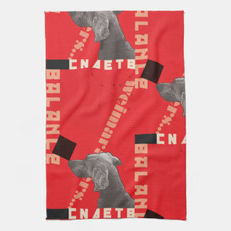 "RED GRAPHIC WEIM KITCHEN TOWEL 16""x24"""