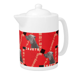 RED GRAPHIC WEIM MEDIUM TEAPOT BY BLU WEIM DESIGNS