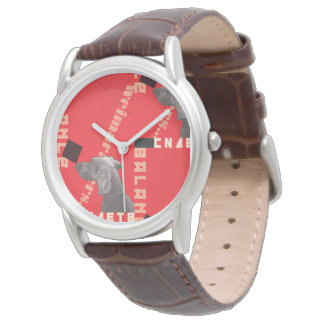 RED GRAPHIC WEIM mens watch brown leather