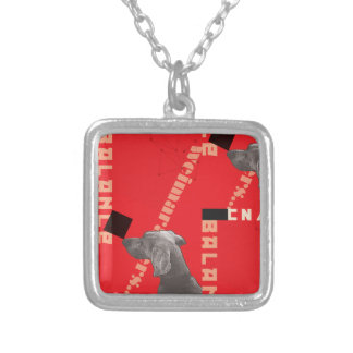 RED GRAPHIC WEIM SML SILVER PLATED SQUARE NECKLACE