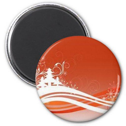 Red graphics for Christmas - Fridge Magnet