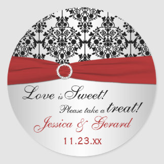Red, Gray, and Black Damask Candy Buffet Sticker