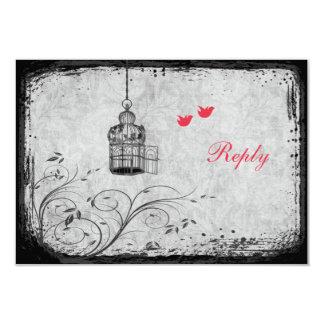 Red, Gray Birdcage Lovebirds Reply Card 9 Cm X 13 Cm Invitation Card