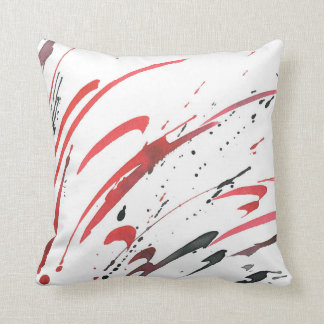 Red Gray Black Watercolor Abstract Pillow
