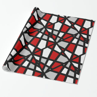 Red Gray Black White Geometric Pattern Wrapping Paper