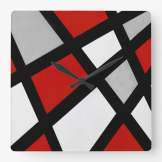 Red gray Black White Geometric Square Wall Clock