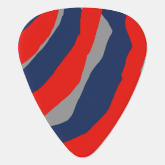 Red Gray Blue Abstract Stripe Guitar Pick