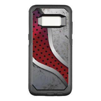 Red & Gray Grungy metallic Texture OtterBox Commuter Samsung Galaxy S8 Case