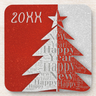 Red Gray Happy New Year 2016 Coaster