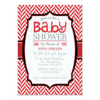Red Gray Herringbone Baby Shower Invitations