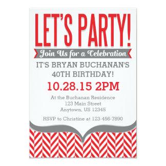 Red Gray Modern Herringbone Birthday Invitations