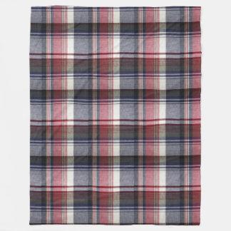 Red Gray Tartan Plaid Fleece Blanket