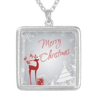 Red Gray White Merry Christmas Snowflake Necklace