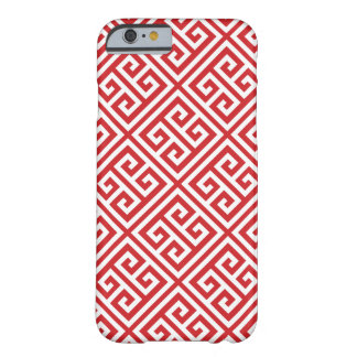 Red Greek Key Pattern Barely There iPhone 6 Case